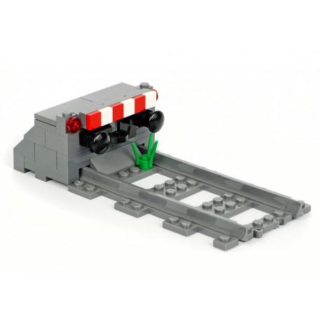 Betonové železniční zarážedlo pro ukončení koleje, speciální LEGO MOC model (Concrete railroad Stop Block)