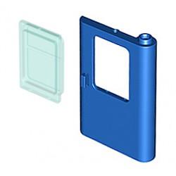 Dveře vlaku, modré, Pravé, 1 x 4 x 5 a Namodralé Sklo dveří, LEGO 4182 (dveře) a LEGO 4183 (sklo)