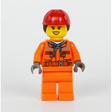 Stavební pracovník s červenou helmou s dlouhými vlasy, Minifigurka pro LEGO City