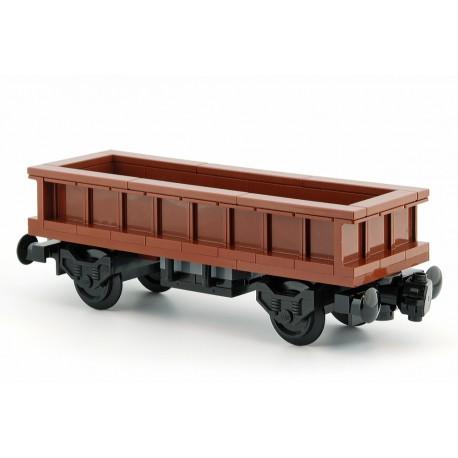 Prodloužený otevřený nákladní vagon, speciální model z originálních dílů LEGO®, MOC Custom 025