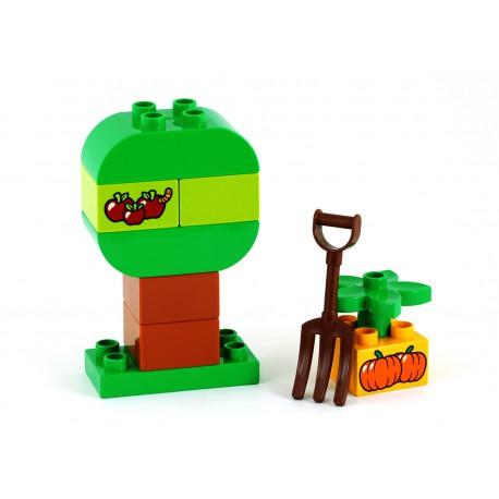 Set: Strom s jablky a červem, kostka záhon s dýní a vidle - originální sestava LEGO Duplo