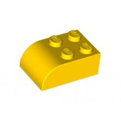 Díl střechy vagonu / kostka zahnutá 2 x 3 x 1 - žlutá - LEGO 6215