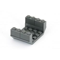 Šikmá kostka, obrácená, dvojitá 45°, 6 x 4 x 1, uprostřed 3 otvory (Spodek vagonu) - tmavě šedá - LEGO dark bluish gray 60219