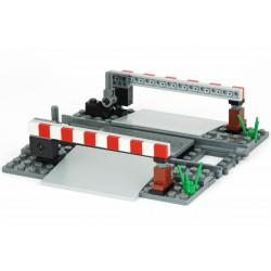 Železniční závory s ovládací pákou a přejezd - čtvercové pruhy - speciální model z originálních dílů LEGO, Custom MOC 059
