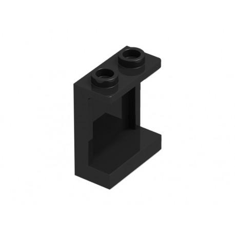 Panel 1 x 2 x 2 s bočními výztuhami - černý - LEGO 87552