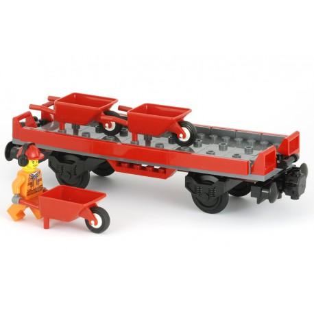 """Plošinový vagon s nízkými bočnicemi, 3 vozíky / kolečka, manipulační dělník s """"hluchátky"""" - 6 x 20 - LEGO MOC Custom 065"""