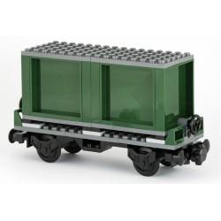 Plošinový vagon 6 x 18 s vojenskými kontejnery - tmavě zelené - LEGO MOC Custom 035