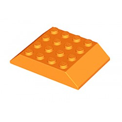 Šikmá kostka, dvojitá 45°, 6 x 4 x 1 (Střecha vagonu) - žlutooranžová - LEGO 32083 Slope 45° 6 x 4 Double
