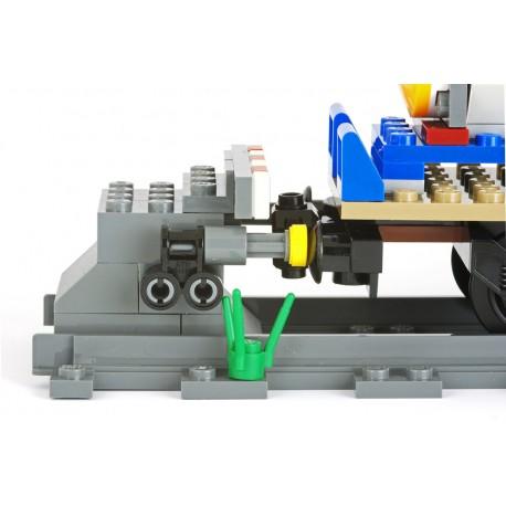 Betonové železniční zarážedlo pro ukončení koleje s absorbčními nárazníky - úzký výstražný pruh - pro LEGO 60198 Nákladní vlak