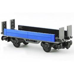 Plošinový vagon s bočnicemi a sklopnými nájezdy 6 x 20 - modrý - LEGO MOC Custom 037