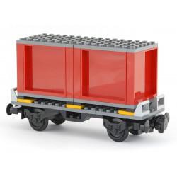 Plošinový nákladní vagon pro kontejnerovou dopravu 6 x 18 s kontejnerem - šedým - model z dílů LEGO MOC Custom 034B