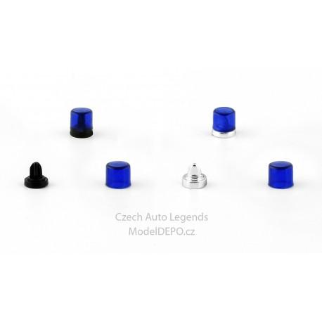 Sada 2 majáků: Výstražný hranatý − modrý − stavebnice − CAL 1:43