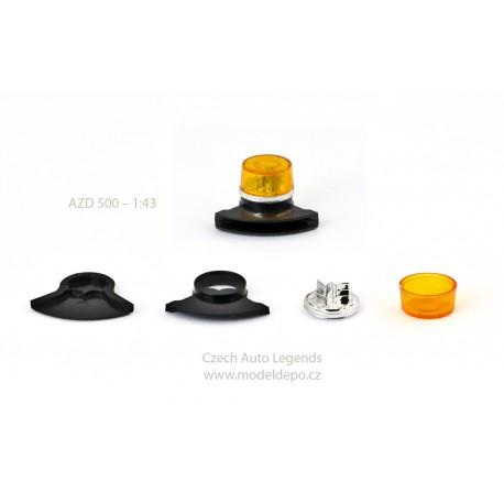 Maják Tesla AZD 500/501 − oranžový s černou zvukovou sirénou − SESTAVENÝ − CAL 1:43