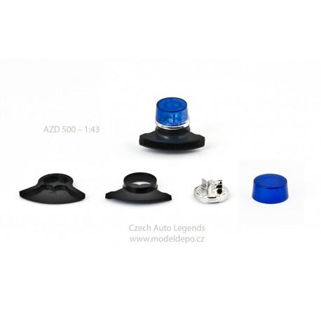 Maják Tesla AZD 500/501 − modrý s černou zvukovou sirénou − SESTAVENÝ − CAL 1:43
