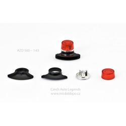 Maják Tesla AZD 500/501 − červený s černou zvukovou sirénou − stavebnice − CAL 1:43