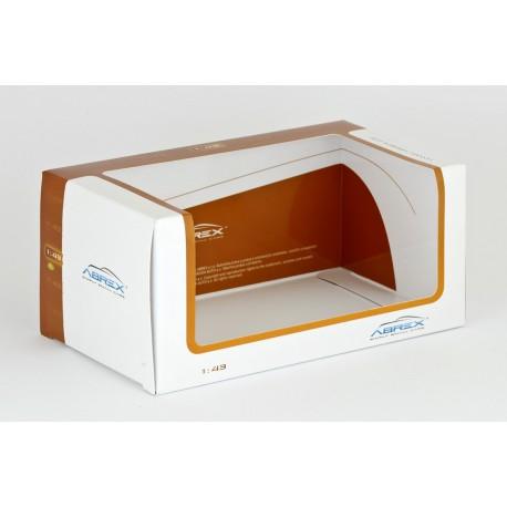 """Originální """"menší"""" přebal na vitrínku (box, krabička) s plachetkou − oranžový / bílý − ABREX 1:43"""